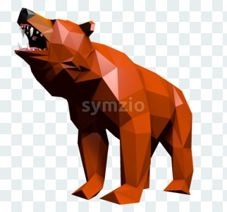 Low Poly Bear cries Stock Photo
