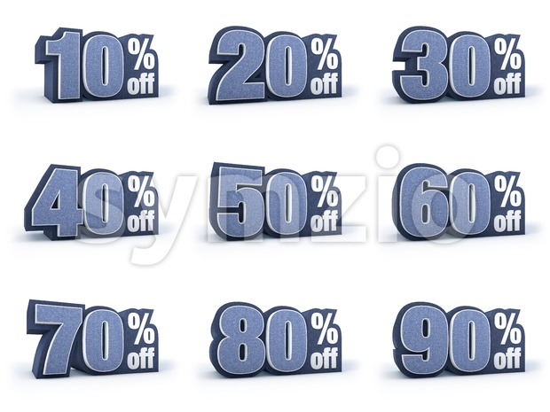 Discount price signs in blueish denim look, isolated on white background, 3D rendering, 10% off, 20% off, 30% off, 40% ...
