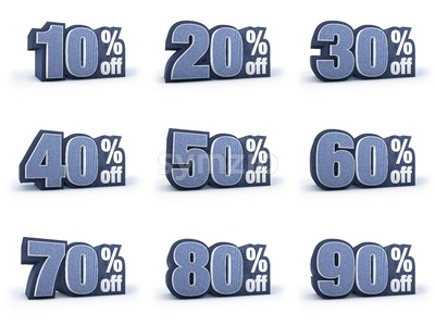 Set of Discount price signs in 9 variations isolated on white background Stock Photo