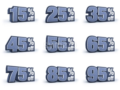 Set of Discount price signs, in 9 variations isolated on white background Stock Photo