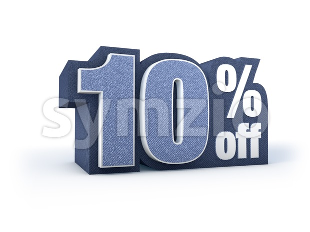 10 percent off denim styled discount price sign Stock Photo