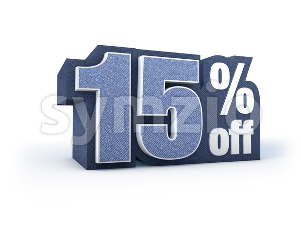 15 percent off denim styled discount price sign Stock Photo