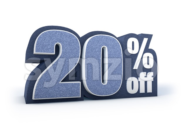 20 percent off denim styled discount price sign Stock Photo