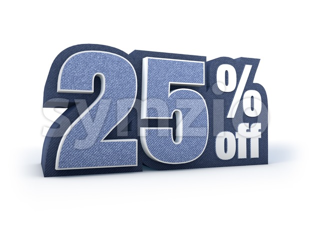 25 percent off denim styled discount price sign Stock Photo