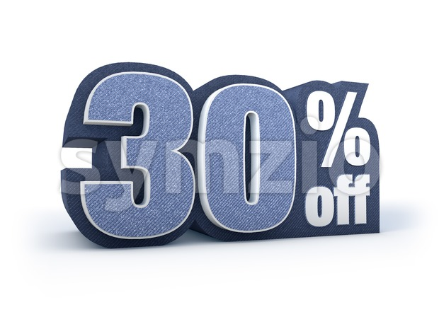 30 percent off denim styled discount price sign Stock Photo