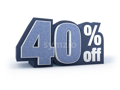 40 percent off denim styled discount price sign Stock Photo