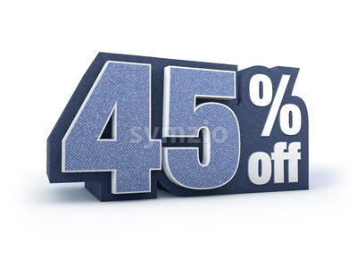 45 percent off denim styled discount price sign Stock Photo