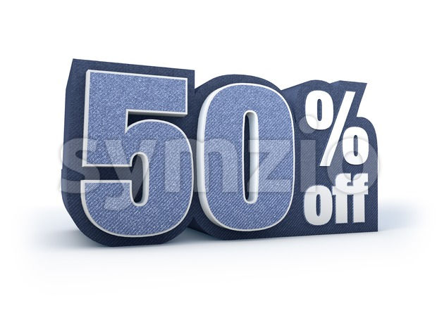 50 percent off denim styled discount price sign Stock Photo