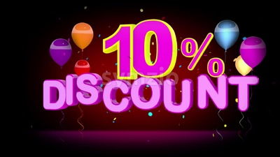 Colorful 10 Percent Discount Advertising Stock Video