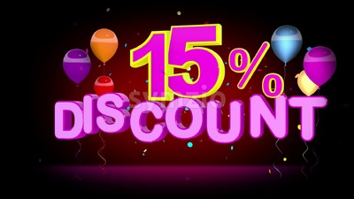 Colorful 15 Percent Discount Advertising Stock Video