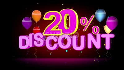 Colorful 20 Percent Discount Advertising Stock Video
