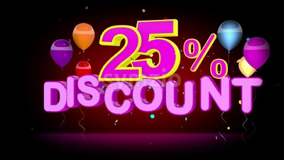 Colorful 25 Percent Discount Advertising Stock Video