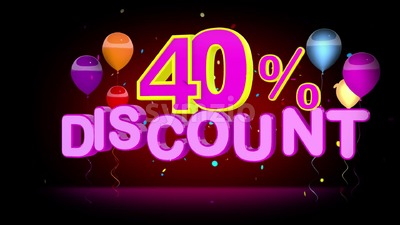 Colorful 40 Percent Discount Advertising Stock Video