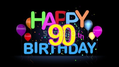 Happy 90th birthday title Motion Graphic Stock Video