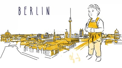 Berlin City Guide Animation with little cute boy Stock Video
