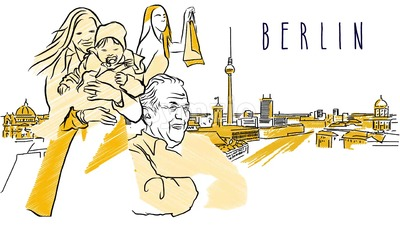 Berlin Sketch Animation with some Inhabitants Stock Video