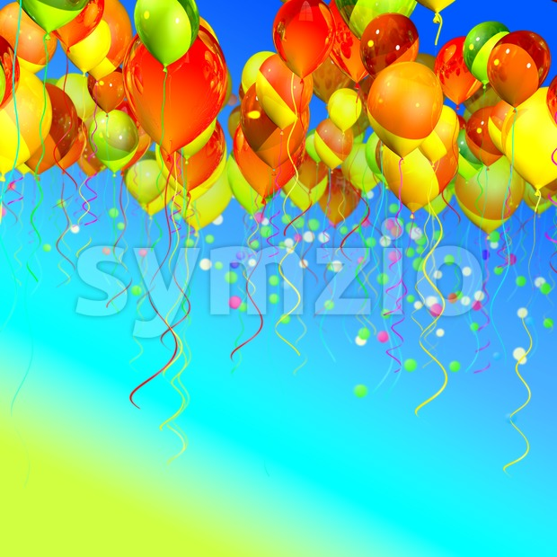 colorful ballons in the sky Stock Photo